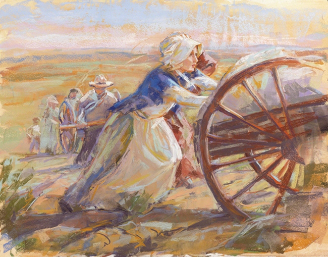 women-pioneers-pushing-handcarts